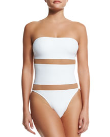 Bishop Nude-Insert One-Piece Swimsuit, White