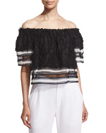 Fringe Off-the-Shoulder Combo Top, Black