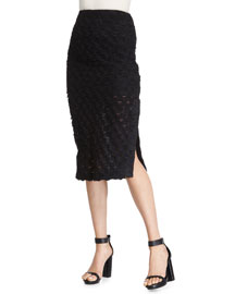 Scalloped Pencil Skirt, Black