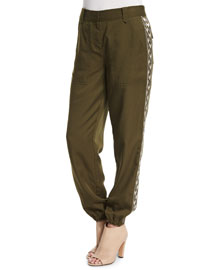Embroidered Twill Pants, Hunter Green