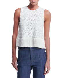 Sleeveless Lace Fringe-Trim Crop Top, Soft White