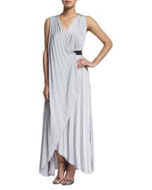 Helene Sleeveless Pleated Maxi Dress, Silver Violet