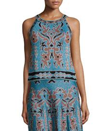 Metallic Embroidered Jacquard Sleeveless Top