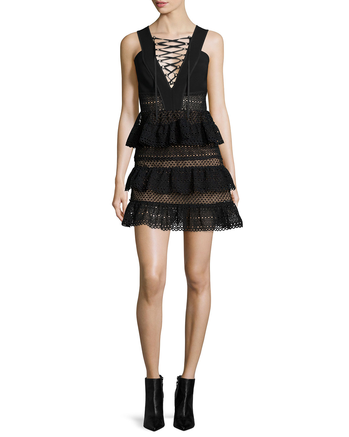 Self Portrait Sleeveless Tiered Lace-Front Dress, Black, Size: 2
