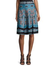 Metallic Jacquard A-line Skirt