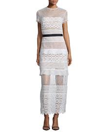 Oblique Lace Column Dress, White