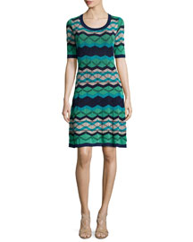 Vanise Zigzag Half-Sleeve Dress