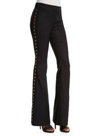 Grommet-Detail Flare Pants, Black