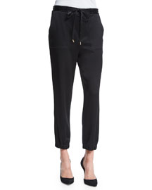 Crepe Drawstring Track Pants, Black