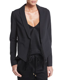 Fringe-Trim Ponte Jacket, Black