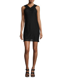 Sleeveless Cotton Lace Dress, Black