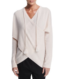 Surplice Cashmere Sweater w/ Tassels, Blush