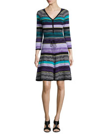 Carrie Striped Fit-and-Flare Dress, Lavender