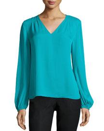 Long-Sleeve Arlenis Silk Top, Blue Lagoon