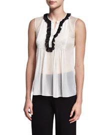 Betsy Silk Tuxedo Top, Ivory/Black
