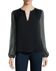 Dotted Batik Silk Top, Black