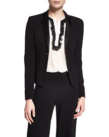 Jennie Single-Button Crepe Blazer, Black