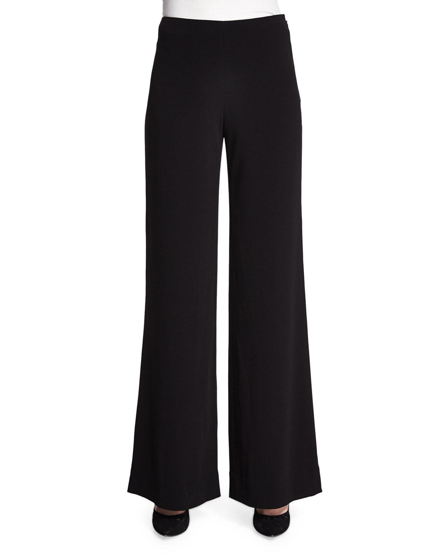 Diane von Furstenberg Preston Wide-Leg Crepe Pants, Black, Size: 8