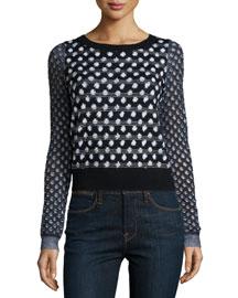 Astin Wool-Blend Boucle-Trim Sweater, Black/Natural