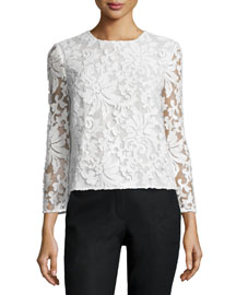 Belle Sequined Floral Top, White