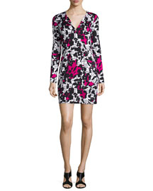 Floral Silk Sheath Dress, Multicolor