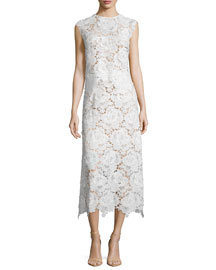 Cap-Sleeve Lace Two-Piece Midi Dress, Oyster