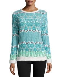 Frequency Zigzag Long-Sleeve Top