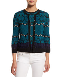 Frequency Zigzag Button-Front Cardigan