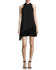 Annalisa Fringe-Trimmed Dress, Black