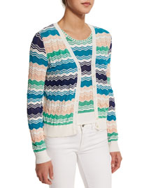 Button-Front Micro Zigzag Cardigan