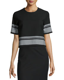 Gwen Short-Sleeve Striped Top, Black