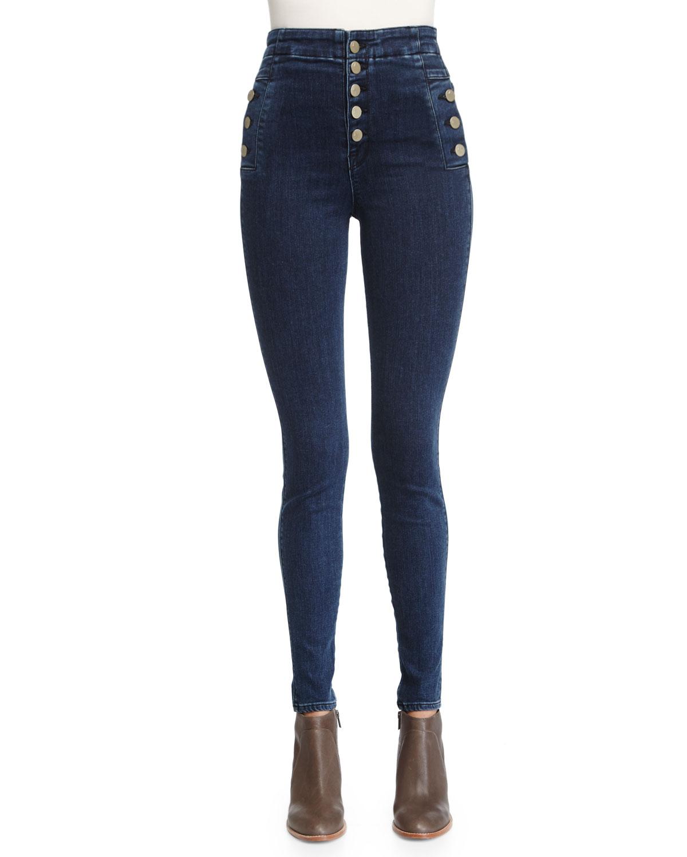 J Brand Jeans Natasha Sky-High Skinny Jeans, Allegiance, Size: 24