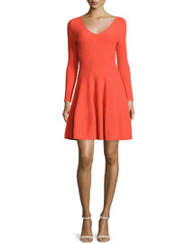 Long-Sleeve Fit & Flare Ribbed Dress
