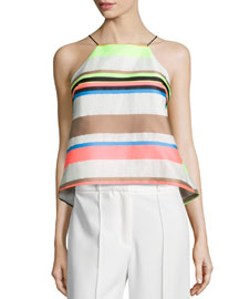 Fluo Multi-Stripe Cami Blouse