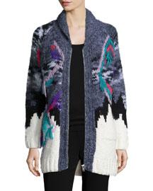 Intarsia Zip-Front Sweater, White/Black/Gray