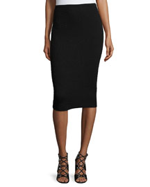 Pebbled Pencil Knee-Length Skirt