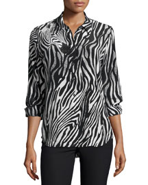 Brett Button-Front Shirt, Black/White