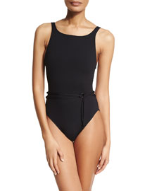 High-Neck Belted One-Piece Swimsuit