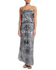 Animal-Print Sleeveless Maxi Dress Coverup