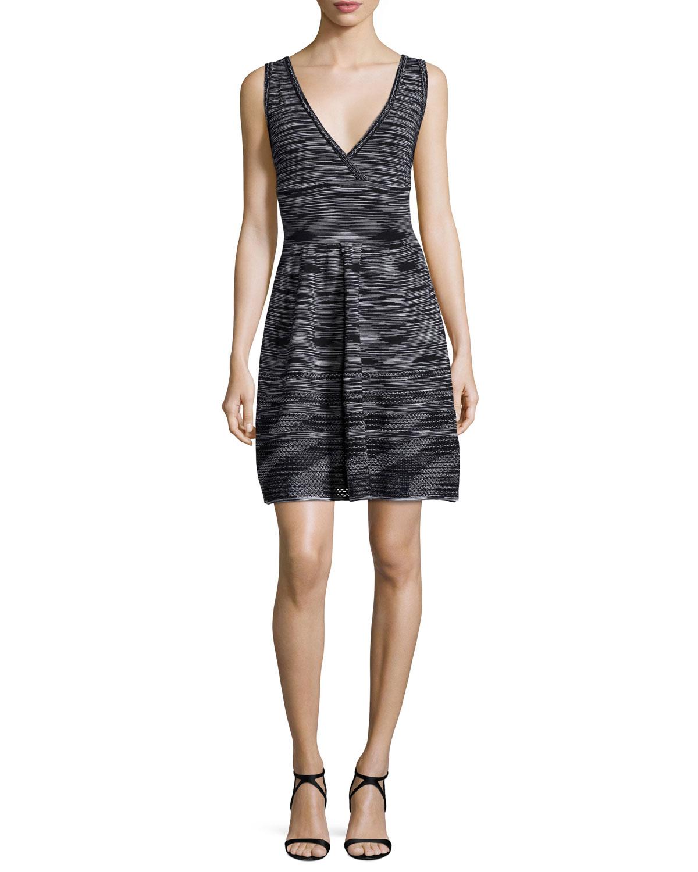 M Missoni Sleeveless Space-Dye Dress, Black, Size: 38