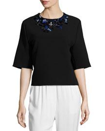 Floral Embellished Half-Sleeve Top, Black
