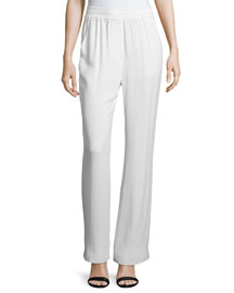 Shirred-Waist Straight Leg Pants, Antique White