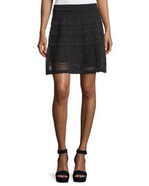 Scalloped A-Line Skirt, Black