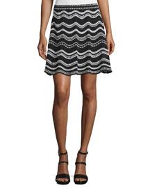 Star-Striped A-Line Skirt, Black