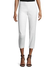 Mid-Rise Slim-Leg Cropped Pants, Ivory