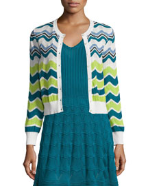 Ripple-Striped Short Cardigan, White