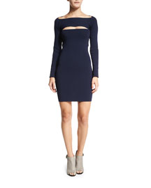 Long-Sleeve Cutout Mini Dress, Marine