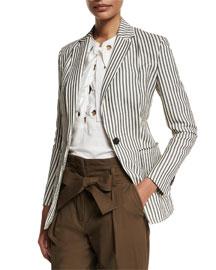 Striped Single-Button Blazer, Navy/Ivory