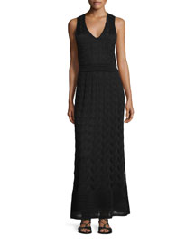 Sleeveless T-Strap Back Maxi Dress
