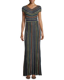 Short-Sleeve Micro-Striped Maxi Dress, Black